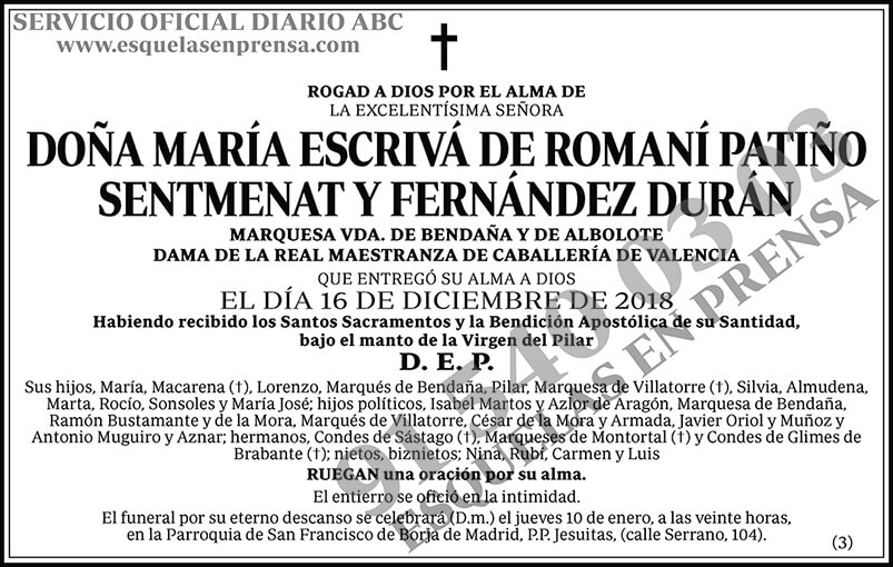 María Escribá de Romaní Patiño Sentmenat y Fernández Durán